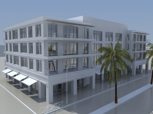 3d model city block commercial building office