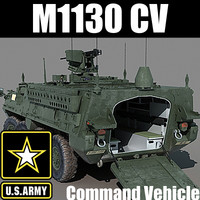 US Army M1130 Command Vehicle Stryker CV (with detailed interior) MAX OBJ
