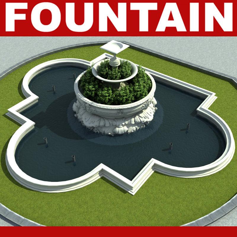 3d fountain modelled model