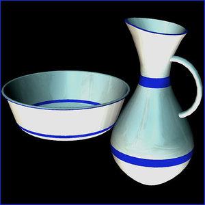 3d bowl pitcher pzptchrbwl model