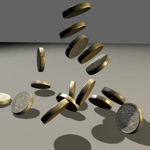 3d model british pound coin money