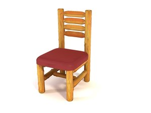 3d log chair model