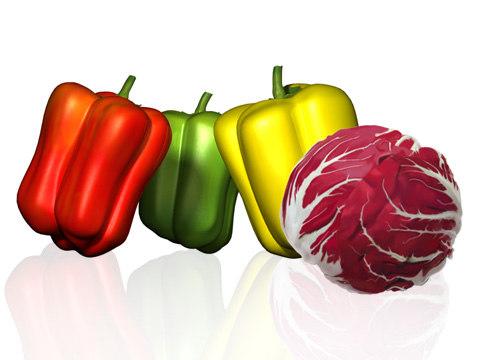 3d model peppers salad