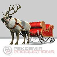 3d sleigh reindeer