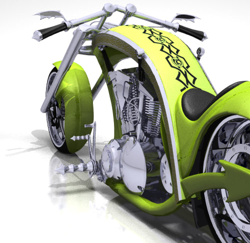 3d model custom chopper design dragon