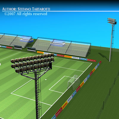 soccer field stadium lights 3d model