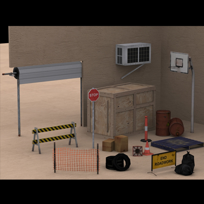 bcs street props contain 3d model