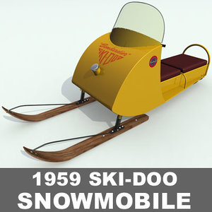 antique snowmobile 3d model