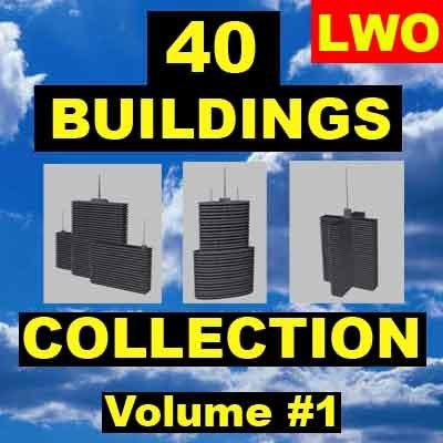 40 buildings skyscrapers 3d model