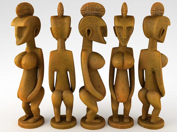 3d model african statue