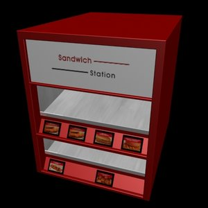 3d fast food sandwich station
