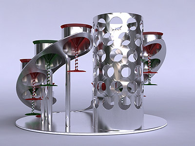 cocktail serving set glasses 3d model