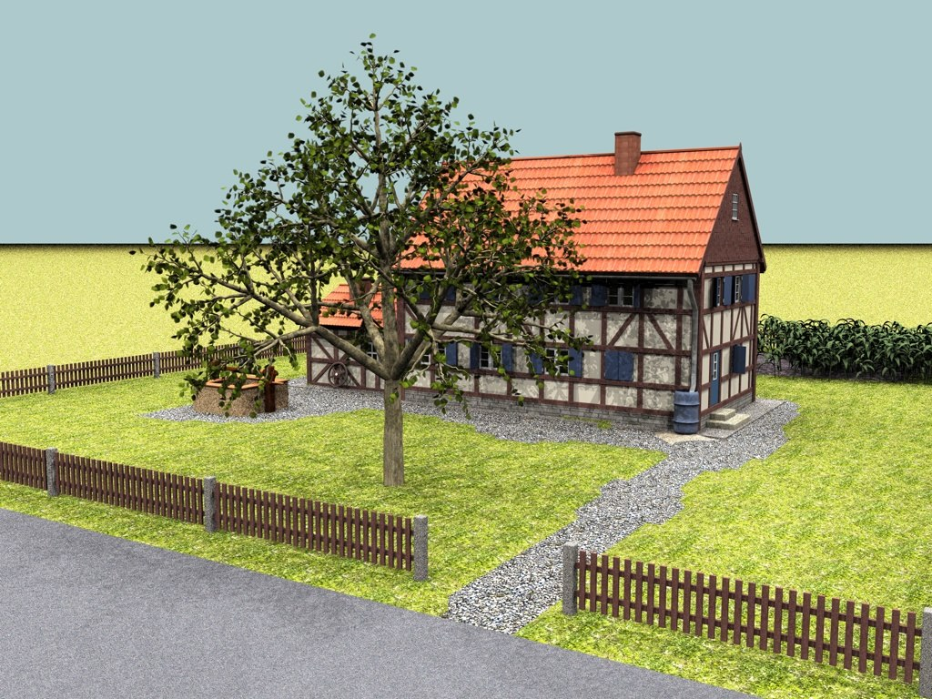 3d model old german half-timbered house