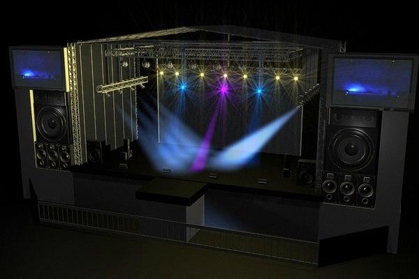 stage concert scene 3d model