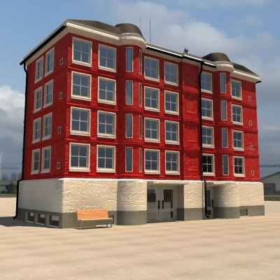 luxury apartment building 3d model