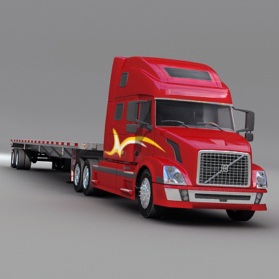 3d semi truck flatbed trailer model