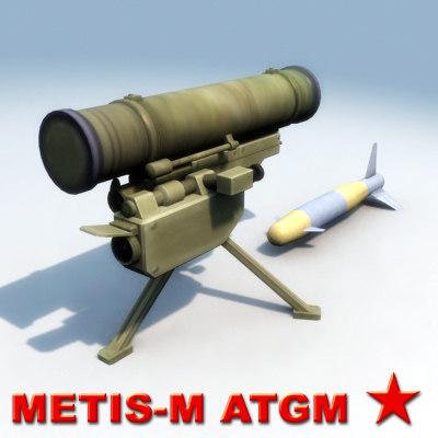 metis-m at-13 missile launcher 3d model