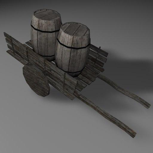 medival cart barrel 3d model