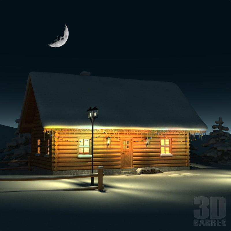 christmas winter scene wooden house 3d model