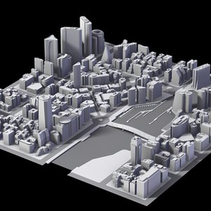 3ds max city district buildings