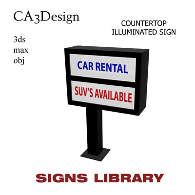 countertop illuminated sign 3d 3ds