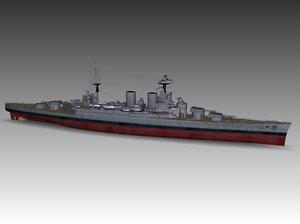 3ds max hms hood battleship