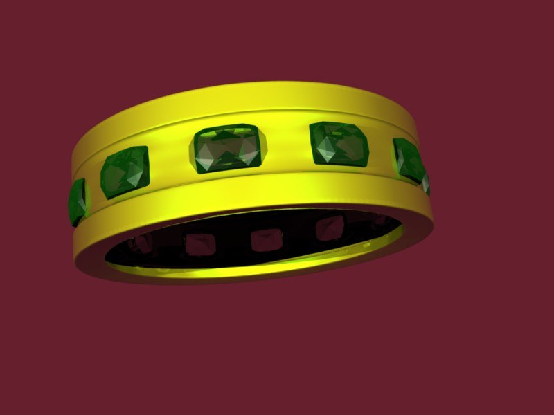 3d gold emerald ring