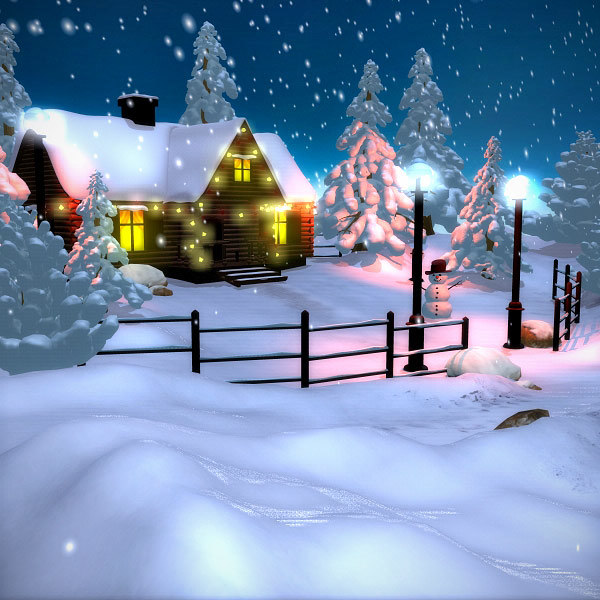 winter scene christmas house 3d model