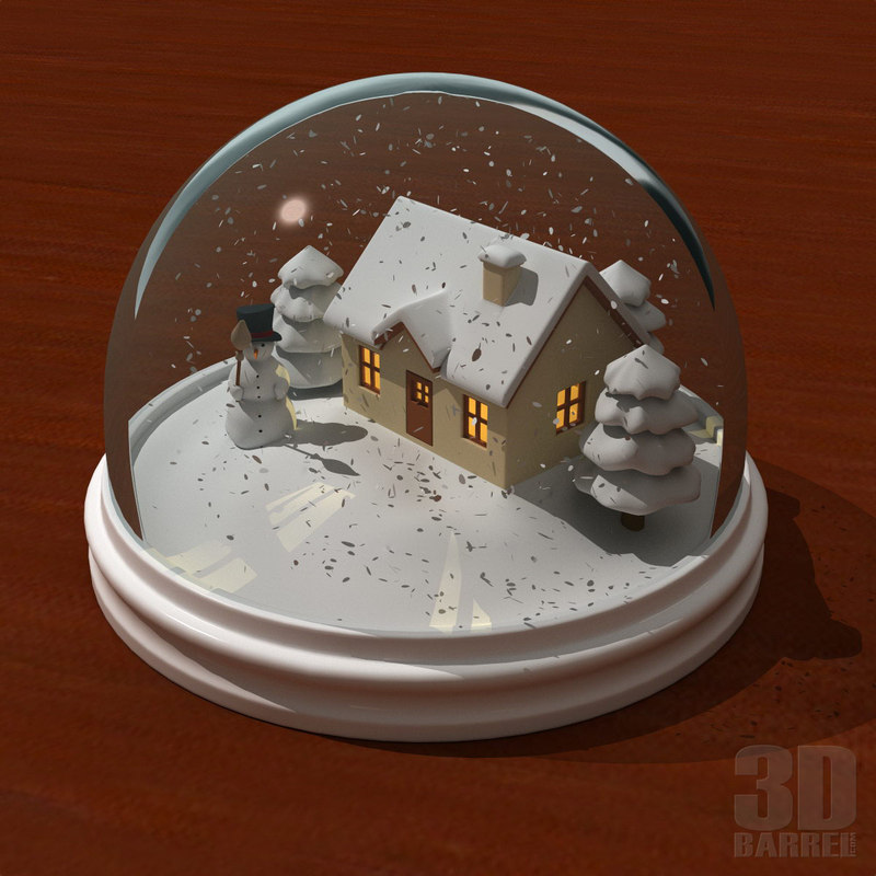 3d Snowglobe House Snowman Model