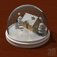 3d snowglobe house snowman model