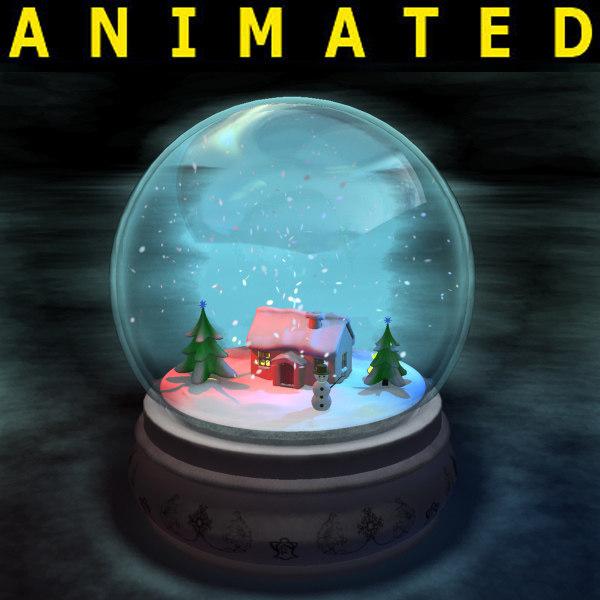 3d snowball complete scene snow model