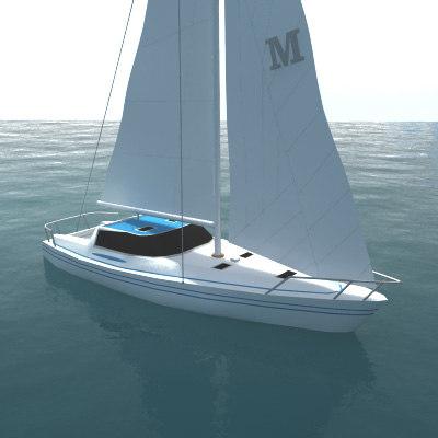 3d model yacht sail