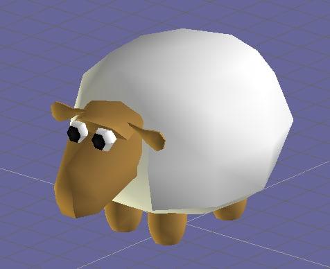 funny cartoon sheep 3d model