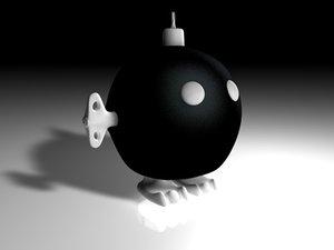 free bob-omb super mario 3d model