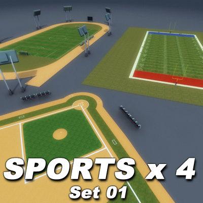 sporting soccer field athletics 3ds