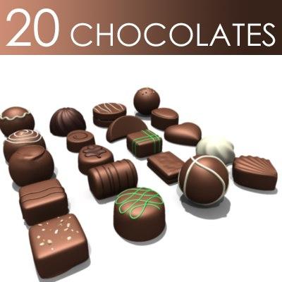 20 chocolates pieces 3d model