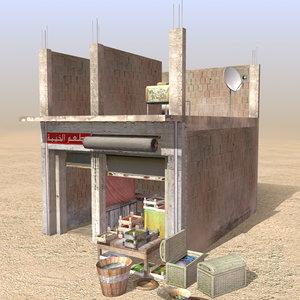 3d model of arab store shops