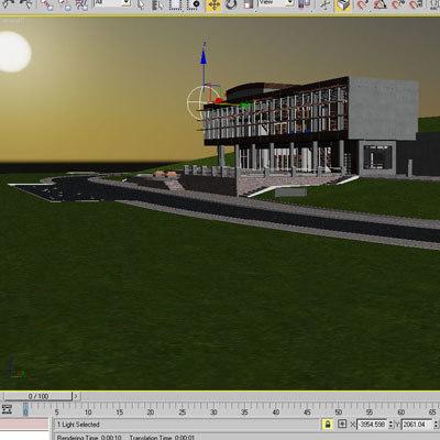 library interior exterior 3d model