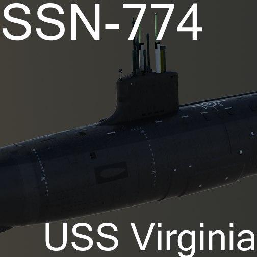 3dsmax uss virginia attack submarine
