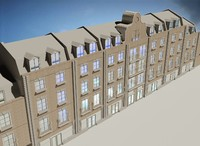 3d building appartments flats model