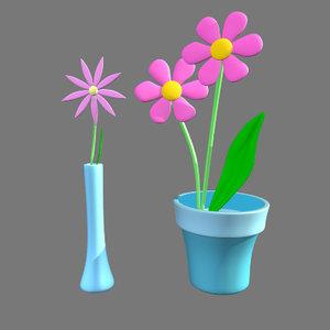 cartoon flower 3d obj