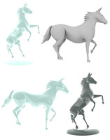 3d lwo posed horse