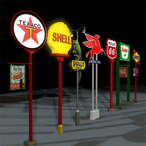 3d model gas station sign 01