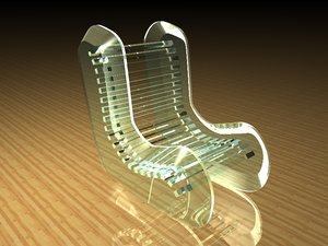 c4d glass chair