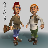 3d gnomes lute animation model