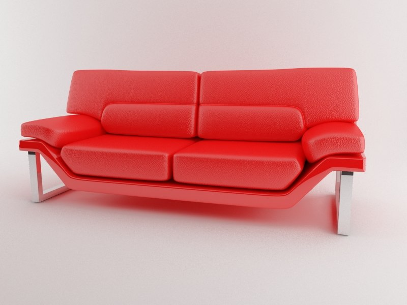 3d model modern leather sofa