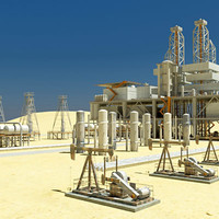 desert oil instalations 3d max