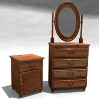 3d model night table drawer mirror