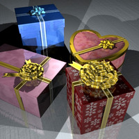 gift box pack 3d 3ds