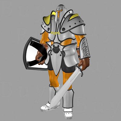 knight sword shield 3d model